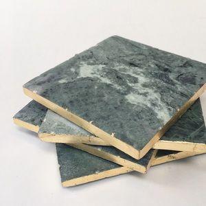 Thirstystone Green Marble Coasters w/Gold Trim X4